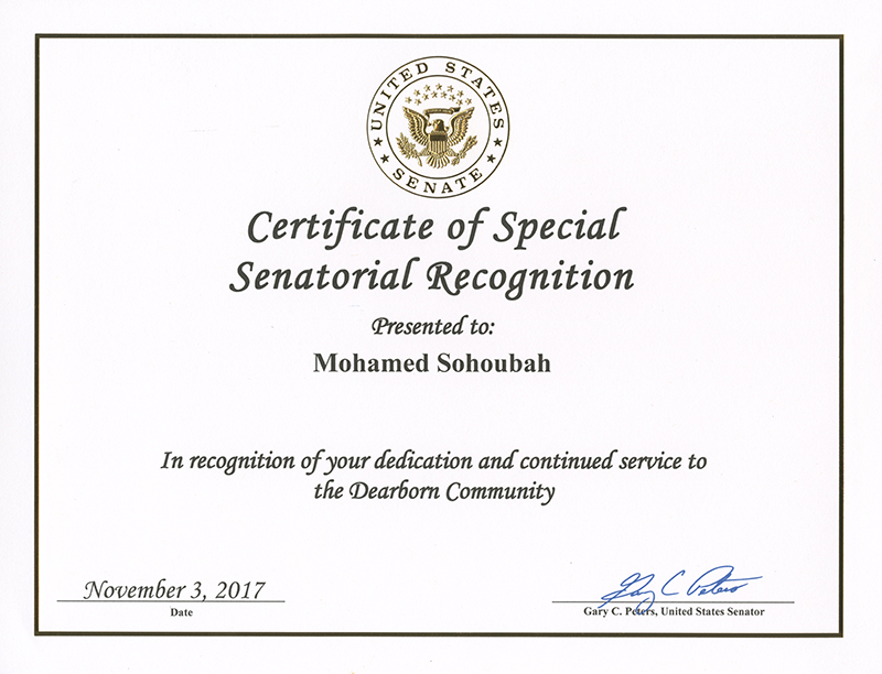 Certificate of Special Senatorial Recognition